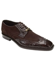 Belvedere Brown Pergola Genuine Crocodile and Suede Leather Shoes 1452 - Fall 2014 Shoe Collection | Sam's Tailoring Fine Men's Clothing