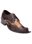 Belvedere Brown Camel ASINO Genuine Ostrich and Crocodile Leather Shoes 3406 - Fall 2014 Shoe Collection | Sam's Tailoring Fine Men's Clothing