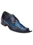 Belvedere Navy Blue / Ocean Blue ASINO Genuine Ostrich and Crocodile Leather Shoes 3406 - Fall 2014 Shoe Collection | Sam's Tailoring Fine Men's Clothing