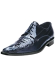 Belvedere Navy Dotto Genuine Crocodile and Eel Leather Shoes 3N0 - Fall 2014 Shoe Collection | Sam's Tailoring Fine Men's Clothing