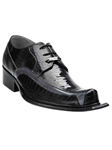 Belvedere Black Gray Lorenzo Genuine Ostrich and Italian Calf Leather Shoes 3409 - Fall 2014 Shoe Collection | Sam's Tailoring Fine Men's Clothing