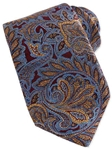 Robert Talbott Maroon with Gold and Sky Blue Woven Paisley Design Estate Tie SAMSTAILORING-NM1002 - Holiday 2014 Collection Estate Ties | Sam's Tailoring Fine Men's Clothing