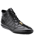 Belvedere Black Alessio Genuine Crocodile And Soft Calf Casual Sneakers 33045 - Fall 2015 Collection Shoes | Sam's Tailoring Fine Men's Clothing