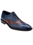Belvedere Antique Blue Safari Sesto Hand Painted Genuine Alligator and Italian Calf Shoes 1B8 - Fall 2015 Collection | Sam's Tailoring Fine Men's Clothing