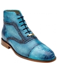 Belvedere Antique Hawaian Blue Tobia Hand Painted Genuine Ostrich and Italian Calf Shoes 904 - Fall 2015 Collection | Sam's Tailoring Fine Men's Clothing