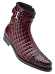 Belvedere Antique Wine Libero Leather Sole Boot with Soft Quilted Leather and Genuine Alligator 819 - Fall 2015 Collection Boots and Lug Rubber Soles | Sam's Tailoring Fine Men's Clothing