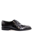 Belvedere Black Onesto II Genuine Ostrich and Crocodile Combination Leather Shoes 1419 - Fall 2015 Collection Shoes | Sam's Tailoring Fine Men's Clothing