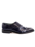 Belvedere Navy Onesto II Genuine Ostrich and Crocodile Combination Leather Shoes 1419 - Fall 2015 Collection Shoes | Sam's Tailoring Fine Men's Clothing