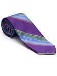Robert Talbott Purple with Green Bixby Satin Stripe Estate Tie 43699I0-05 - Fall 2015 Collection Estate Ties | Sam's Tailoring Fine Men's Clothing