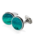 Teal Angel Wing Bordered Round Cufflinks | M-Clip New Cufflinks Collection 2016 | Sams Tailoring