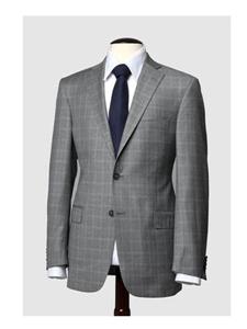 Hart Schaffner Marx Grey Windowpane Suit 170434218183