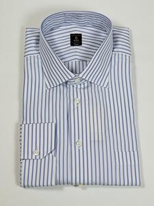 Robert talbott white and blue stripe estate dress shirt for Robert talbott shirts sale