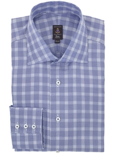 Robert talbott cielo check wide spread collar trim fit for Wide spread collar shirt