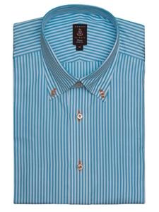 Robert talbott aqua and white stripes medium spread collar for Robert talbott shirts sale