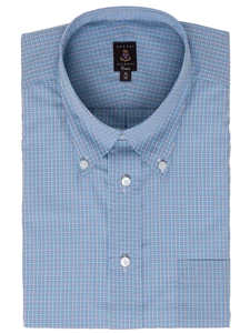 Blue multi colored small check estate shirt robert for Robert talbott shirts sale