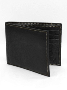 Black Tumbled Glove Leather Billfold Wallet |  Torino Leather's Wallet collection | Sams Tailoring