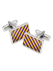 Purple & Gold Team Stripes Inlay Cufflink | M-Clip New Cufflinks Collection 2016 | Sams Tailoring