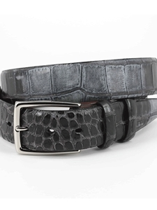 Black Hand Stained Gator Embossed Calfskin Belt | Torino Leather New Arrivals | Sam's Tailoring