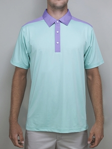 Mint del mar contrast yoke polo shirt betenly golf for Mint color polo shirt