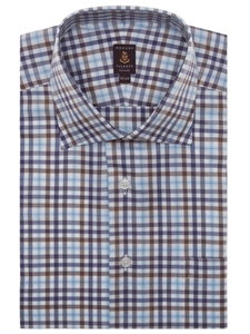 Brown white purple and blue check estate classic dress for Robert talbott shirts sale
