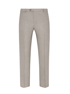 Tan Twill Wool Silk Flat Front Trouser | Hickey Freeman Summer Blends Collection | Sam's Tailoring