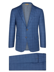 Soft Blue Plaid Summer Wish Suit | Hickey Freeman Summer Blends Collection | Sam's Tailoring