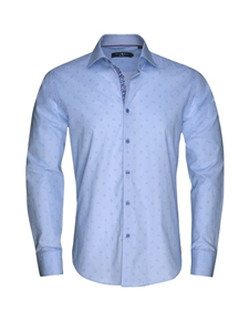 Sky Blue Geometric Button Up Shirt | Stone  Rose New Arrivals | Sams Tailoring Fine Men Clothing