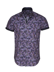 Purple Tropical Stripe Button Up Short Sleeve Shirt| Stone  Rose New Arrivals | Sams Tailoring Fine Men Clothing