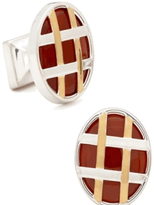 IKE Behar Two Tone Strapped Red Jasper Cufflinks IB-22-GL - Cufflinks | Sam's Tailoring Fine Men's Clothing