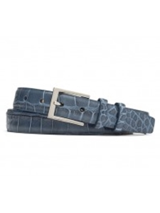 Blue Embossed Crocodile With Shiny Nickle Buckle Belt | W.Kleinberg Belts Collection | Sam's Tailoring