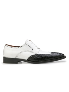 Black/White Genuine Alligator Wing Tip Urbano Shoe | Belvedere Shoes Spring & Summer Collection | Sams Tailoring