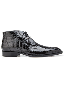 Black Genuine Alligator Stegano Ankle Boot | Belvedere Shoes Fall Collection | Sams Tailoring