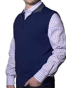 Robert talbott Solid Navy Mason 1/4 Zip Knit Vest PS746-01| Sam's Tailoring Fine Men's Clothing