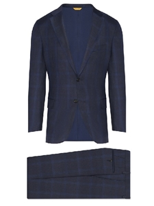 Navy Tonal Plaid Tasmanian Wool Fall Men Suit | Hickey Freeman Suit's Collection | Sam's Tailoring Fine Men Clothing