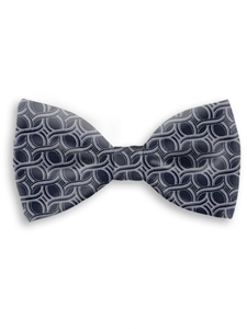 Navy and Grey Sartorial Handmade Silk Bow Tie | Bow Ties Collection | Sam's Tailoring Fine Men Clothing