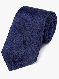 Deep Navy Paisley Pattern Woven Tie | Fine Ties Collection | Sam's Tailoring Fine Men Clothing