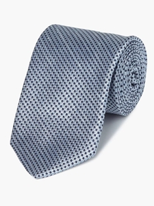 Blue With Navy Dot Check Silk/Linen Tie | Fine Ties Collection | Sam's Tailoring Fine Men Clothing