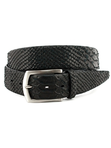 Black Anaconda Grain Embossed Calfskin Belt | Torino Leather Belts | Sam's Tailoring Fine Men Clothing
