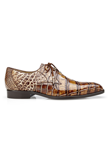 Caramel Alfred Alligator Derby Dress Shoe | Belvedere Shoes Collection | Sam's Tailoring Fine Mens Clothing