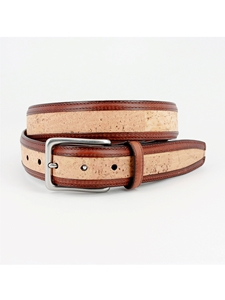 Natural Portuguese Cork With Waxhide Leather Trim Belt | Torino Leather Belts | Sam's Tailoring Fine Men Clothing