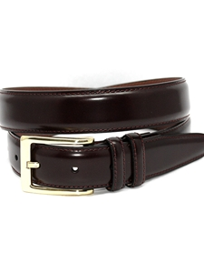 Burgundy Antigua Leather W/ Brass Buckle X-Long Belt | Torino Leather XL Belts | Sam's Tailoring Fine Men Clothing