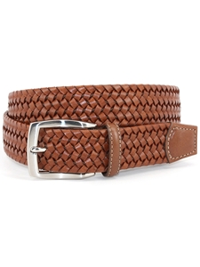 Cognac Italian Woven Stretch Leather Men's Belt | Torino Leather Dress Causal Belts | Sam's Tailoring Fine Men Clothing