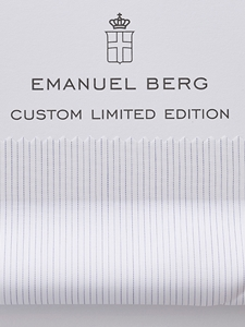White & Blue Two Ply Limited Edition Custom Shirt | Emanuel Berg Custom Shirts | Sam's Tailoring Fine Men's Clothing