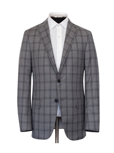 Grey Super 140's Wool Sharkskin Plaid Infinity Suit | Hickey Freeman Suits | Sam's Tailoring Fine Men Clothing