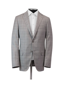 Taupe Plaid Super 150's Wool Tasmanian Suit | Hickey Freeman Suits | Sam's Tailoring Fine Men Clothing