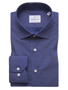 Navy Printed Two Button Cuffs Long Sleeve Shirt | Casual Shirts Collection | Sam's Tailoring Fine Men's Clothing