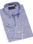 F.A. MacCluer Navy Classic Bold Stripe Buttondown F563581-590 - Sport Shirts | Sam's Tailoring Fine Men's Clothing