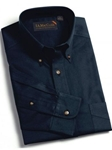 F.A. MacCluer Navy Refined Sanded Twill Solid Buttondown F572636-590 - Twills and Oxfords Sport Shirts | Sam's Tailoring Fine Men's Clothing