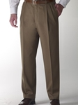 Hart Schaffner Marx Gabardine Taupe Double Pleat Trouser 535215474719 - Trousers | Sam's Tailoring Fine Men's Clothing