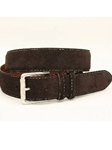 Torino Leather European Sueded Calfskin Belt - Brown 54011 - Cool Casual Belts | Sam's Tailoring Fine Men's Clothing